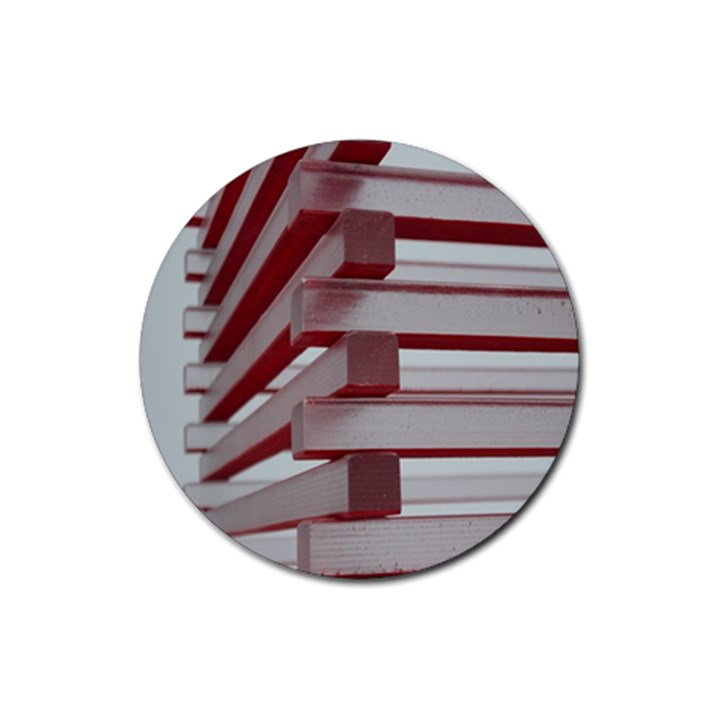 Red Sunglasses Art Abstract  Rubber Round Coaster (4 pack)