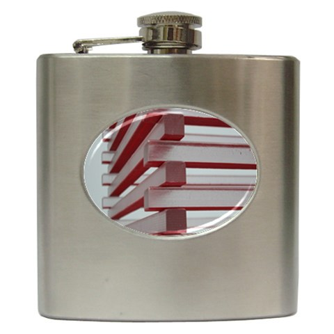Red Sunglasses Art Abstract  Hip Flask (6 oz)