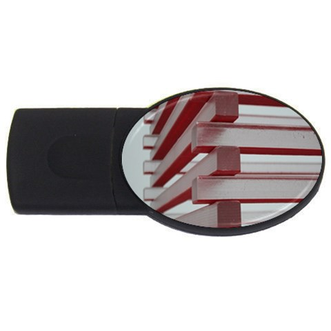 Red Sunglasses Art Abstract  USB Flash Drive Oval (2 GB)
