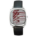 Red Sunglasses Art Abstract  Square Metal Watch Front