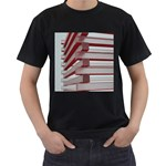 Red Sunglasses Art Abstract  Men s T-Shirt (Black) (Two Sided) Front