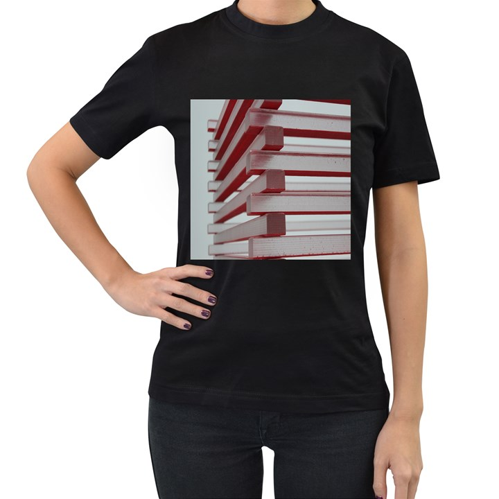 Red Sunglasses Art Abstract  Women s T-Shirt (Black) (Two Sided)