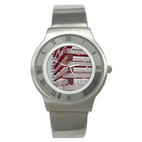 Red Sunglasses Art Abstract  Stainless Steel Watch