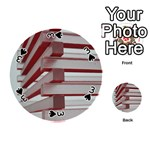 Red Sunglasses Art Abstract  Playing Cards 54 (Round)  Front - Spade3