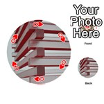 Red Sunglasses Art Abstract  Playing Cards 54 (Round)  Front - HeartQ