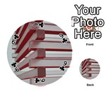 Red Sunglasses Art Abstract  Playing Cards 54 (Round)  Front - Club9
