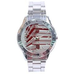 Red Sunglasses Art Abstract  Stainless Steel Analogue Watch