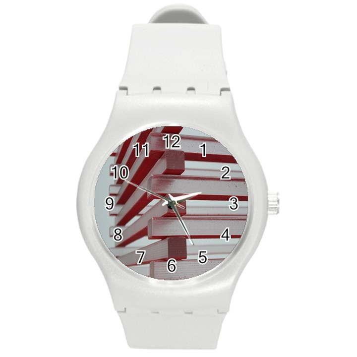 Red Sunglasses Art Abstract  Round Plastic Sport Watch (M)