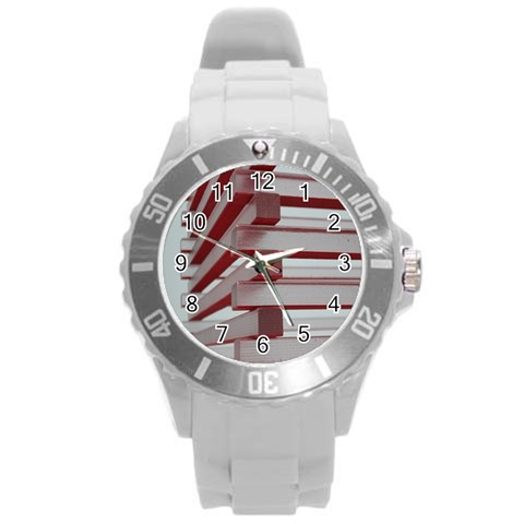 Red Sunglasses Art Abstract  Round Plastic Sport Watch (L)