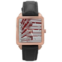 Red Sunglasses Art Abstract  Rose Gold Leather Watch