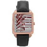 Red Sunglasses Art Abstract  Rose Gold Leather Watch  Front