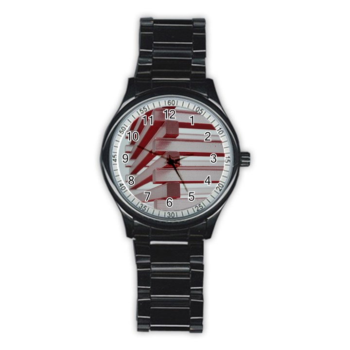 Red Sunglasses Art Abstract  Stainless Steel Round Watch