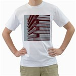 Red Sunglasses Art Abstract  Men s T-Shirt (White)  Front