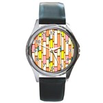 Retro Blocks Round Metal Watch Front
