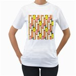 Retro Blocks Women s T-Shirt (White) (Two Sided) Front