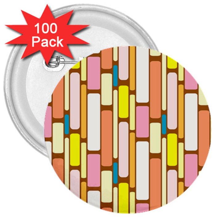Retro Blocks 3  Buttons (100 pack)