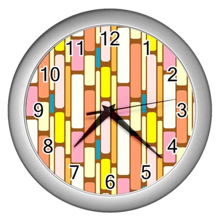 Retro Blocks Wall Clocks (Silver)