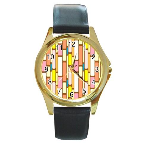 Retro Blocks Round Gold Metal Watch