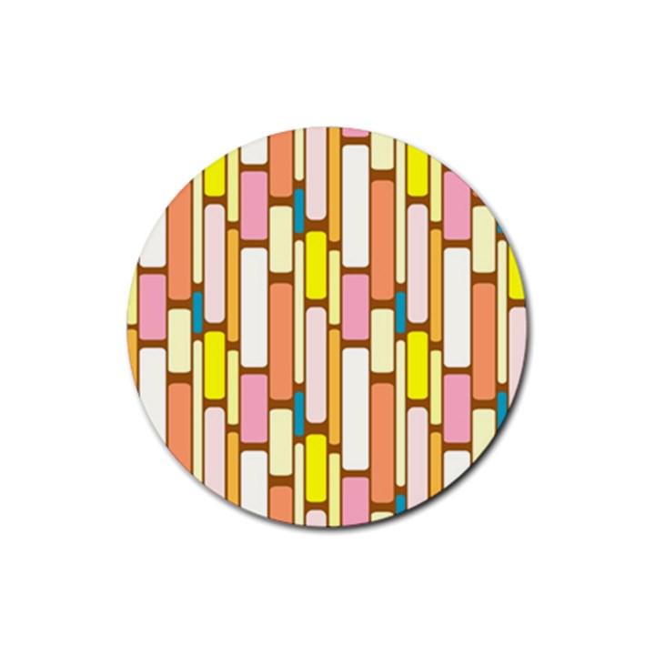 Retro Blocks Rubber Coaster (Round)
