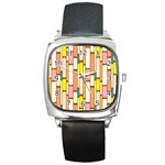 Retro Blocks Square Metal Watch Front