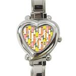 Retro Blocks Heart Italian Charm Watch Front