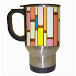 Retro Blocks Travel Mugs (White) Left