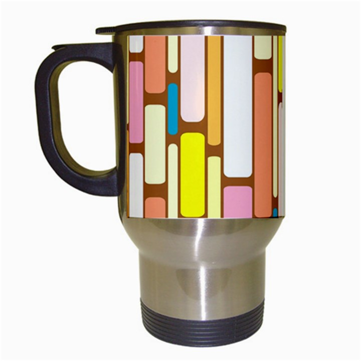 Retro Blocks Travel Mugs (White)
