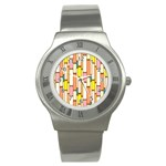Retro Blocks Stainless Steel Watch Front