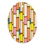 Retro Blocks Oval Ornament (Two Sides) Front
