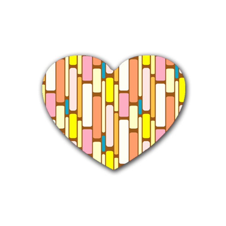 Retro Blocks Rubber Coaster (Heart)