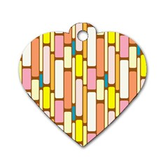 Retro Blocks Dog Tag Heart (One Side)