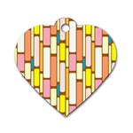 Retro Blocks Dog Tag Heart (Two Sides) Front