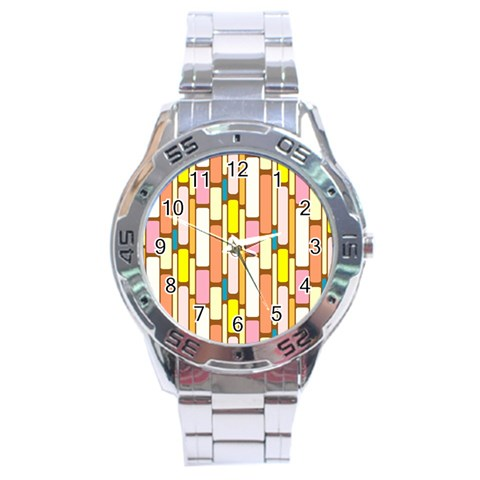Retro Blocks Stainless Steel Analogue Watch