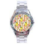 Retro Blocks Stainless Steel Analogue Watch Front