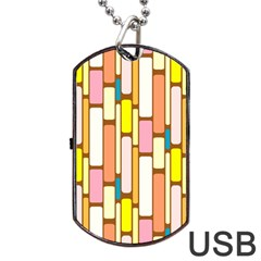 Retro Blocks Dog Tag USB Flash (One Side)