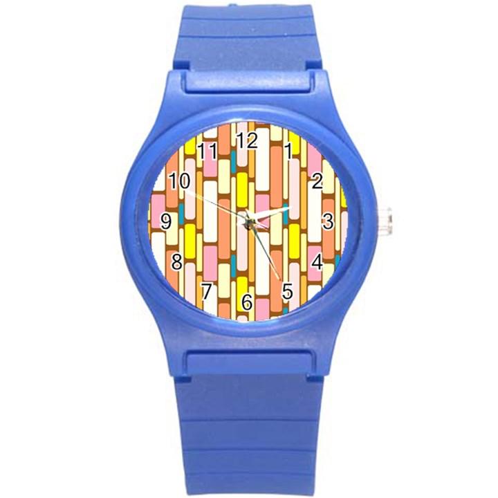 Retro Blocks Round Plastic Sport Watch (S)