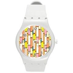 Retro Blocks Round Plastic Sport Watch (M)