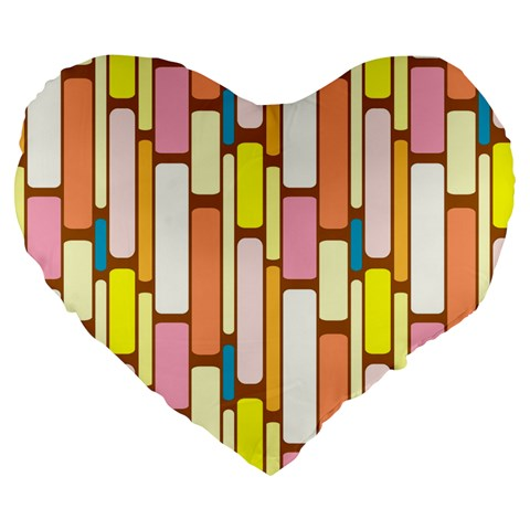 Retro Blocks Large 19  Premium Heart Shape Cushions