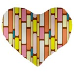 Retro Blocks Large 19  Premium Heart Shape Cushions Front