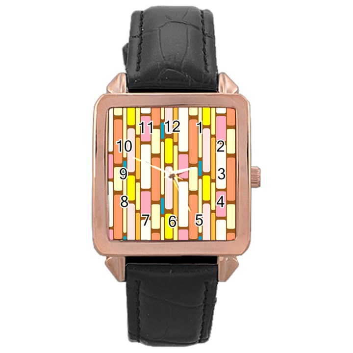 Retro Blocks Rose Gold Leather Watch