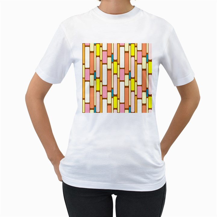 Retro Blocks Women s T-Shirt (White)