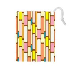 Retro Blocks Drawstring Pouches (Large)