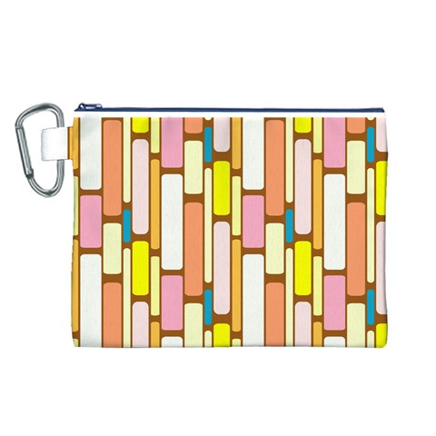 Retro Blocks Canvas Cosmetic Bag (L)