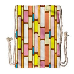 Retro Blocks Drawstring Bag (Large)