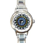 Rose Window Strasbourg Cathedral Round Italian Charm Watch Front