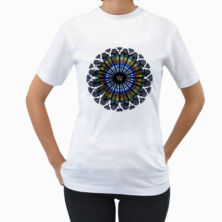 Rose Window Strasbourg Cathedral Women s T-Shirt (White) (Two Sided)