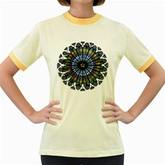 Rose Window Strasbourg Cathedral Women s Fitted Ringer T-Shirts