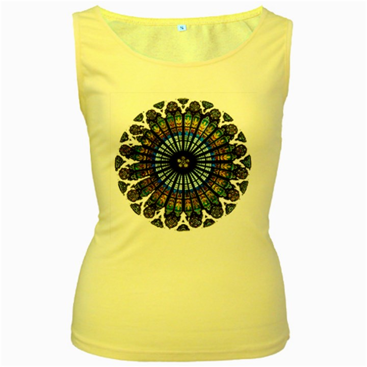 Rose Window Strasbourg Cathedral Women s Yellow Tank Top