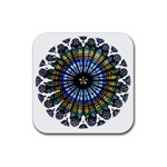 Rose Window Strasbourg Cathedral Rubber Coaster (Square)  Front