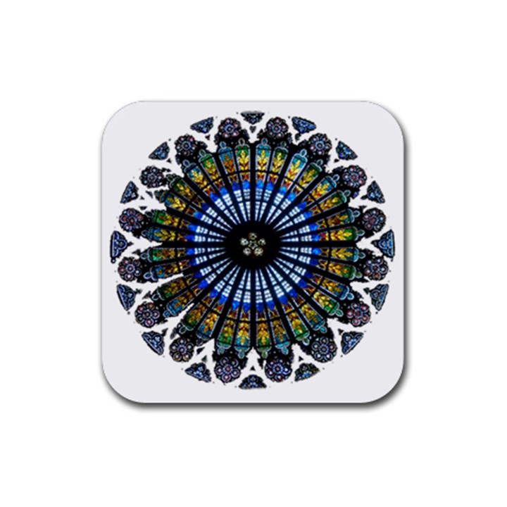 Rose Window Strasbourg Cathedral Rubber Coaster (Square)